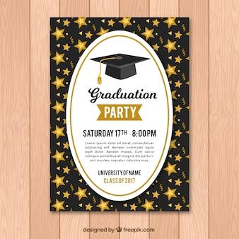 Brochure de fête des diplômés avec des stars d'or