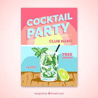 Brochure de fête avec mojito