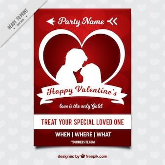 Brochure heureux de valentine avec un couple silhouette