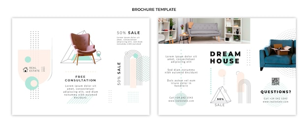 Brochure de l'immobilier géométrique abstrait plat