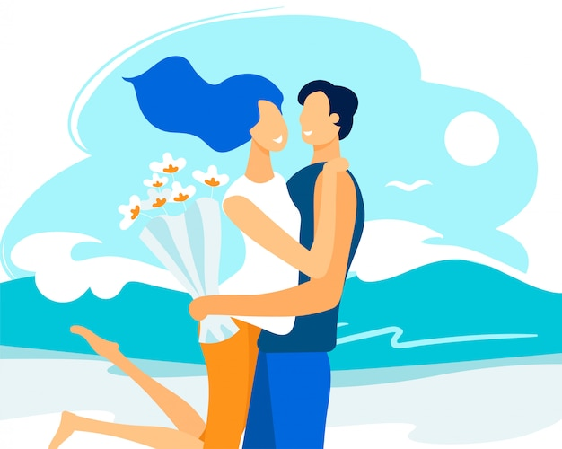 Brochure d'information rencontre couple amoureux plat.