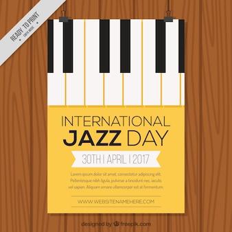 Brochure internationale d'une journée de jazz avec des touches de piano