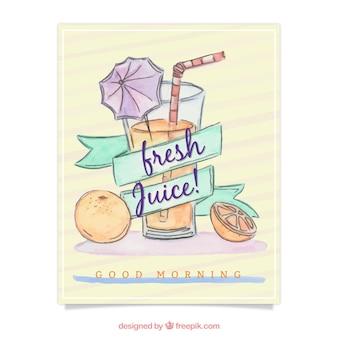 Brochure de la main tirée du jus d'orange
