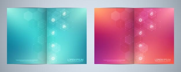Brochure de modèle ou couverture, livre, flyer, avec des icônes et des symboles technologiques.