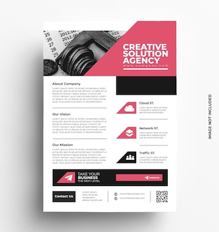 Brochure de modèle de flyer entreprise avec photo