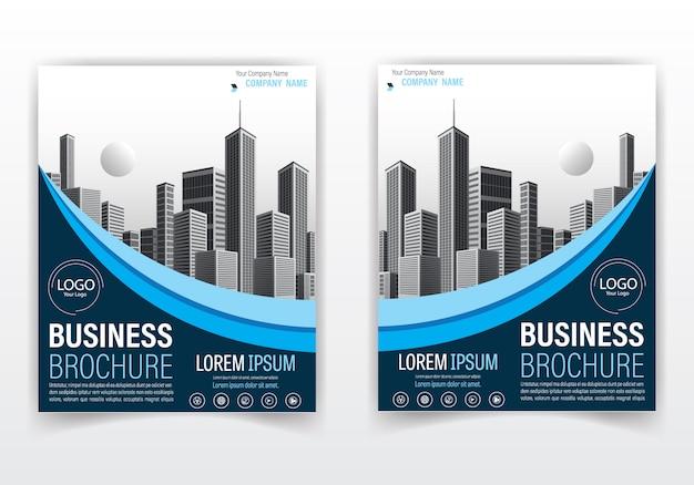 Brochure moderne et couverture de couleur bleue