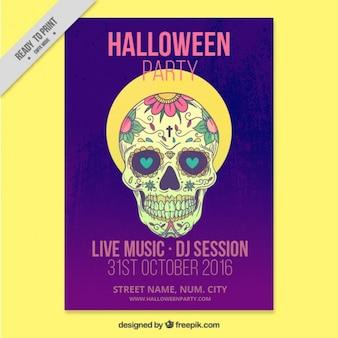 Brochure moderne fête d'halloween avec le crâne mexicain dessiné à la main