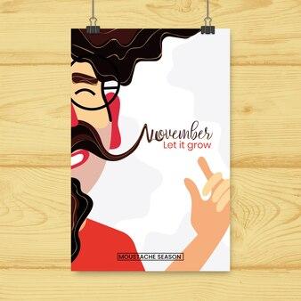 Brochure movember avec hipster heureux