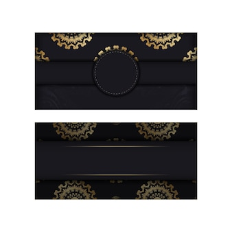 Brochure en noir avec motif or grec pour votre conception.
