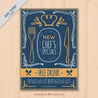 Brochure de restaurant vintage avec des croquis
