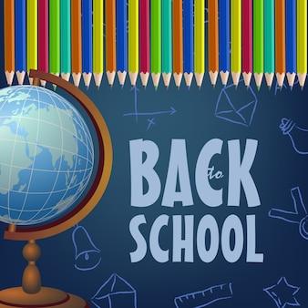 Brochure de retour à l'école avec des crayons de couleur, globe