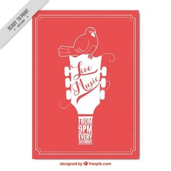 Brochure rouge de fête avec la guitare et l'oiseau