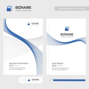 Brochure de la société avec un design élégant et avec le logo de la serrure