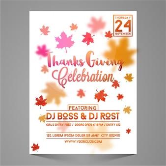 Brochure thanksgiving avec des feuilles décoratives dans différentes couleurs