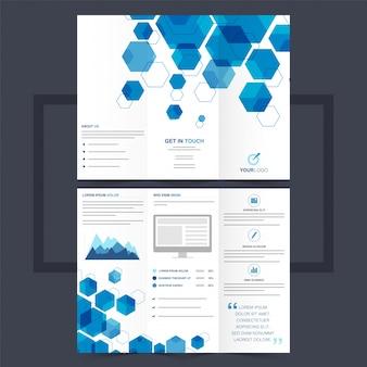 Brochure trifoliée professionnelle ou flyer avec des formes hexagonales bleues.