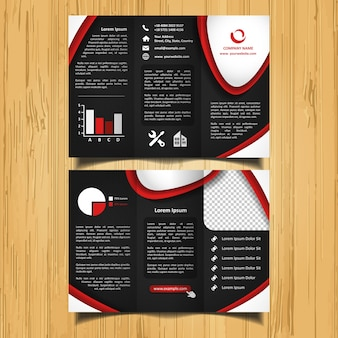 Brochure à trois feuilles de courbes rouges et blanches