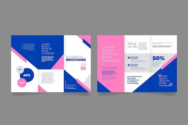 Brochure à trois volets avant et arrière