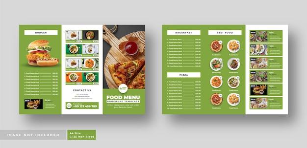 Brochure à trois volets du menu alimentaire pour restaurant