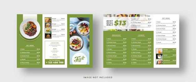 Brochure à trois volets du restaurant du menu alimentaire