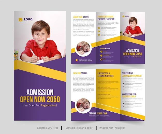 Brochure à trois volets de l'éducation ou admission à l'école ou admission au collage conception de la brochure à trois volets