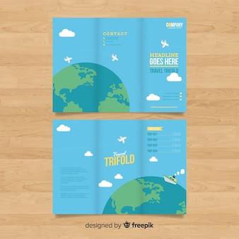 Brochure à trois volets de globe travel