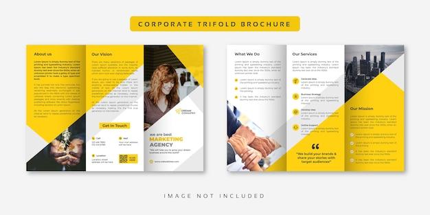 Brochure à trois volets jaune d'entreprise