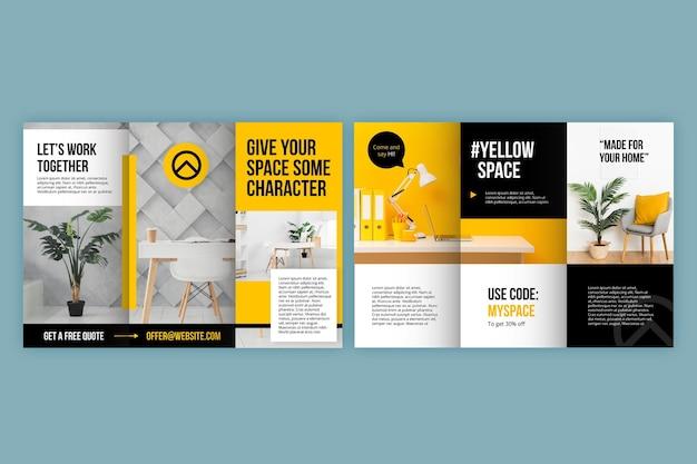 Brochure à trois volets avec photo