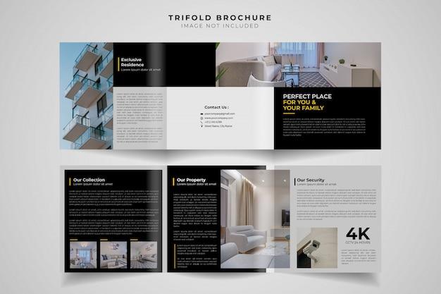 Brochure à trois volets de real estate square