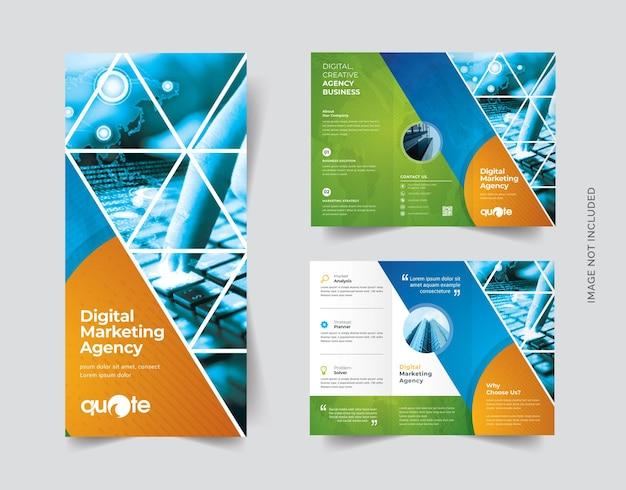 Brochure à trois volets de style triangulaire