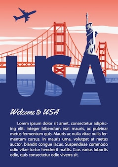 Brochure usa dans la conception de couleur de drapeau national de typographie