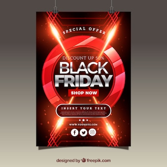 Brochure de vendredi noir abstrait