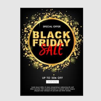 Brochure de vente noire vendredi ou dépliant avec des paillettes d'or