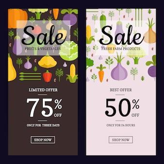 Brochure de vente vecteur légumes plat magasin végétalien, modèles de bannière. illustration de vente de cartes vegan