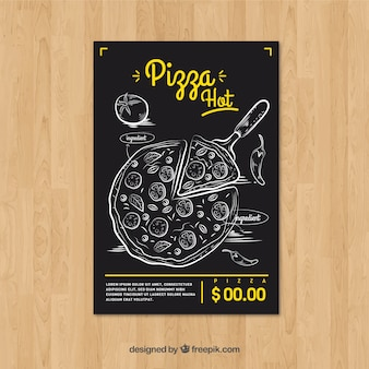 Brochure vintage à la main tirée à la pizza