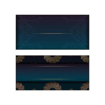 Brochure de voeux avec une couleur verte dégradée avec un motif en or indien pour votre conception.
