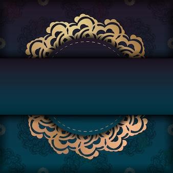 Brochure de voeux avec une couleur verte dégradée avec des ornements en or grec pour votre conception.
