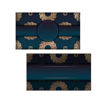 La brochure de voeux de motif d'or indien dégradé vert est prête à être imprimée.