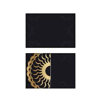 Brochure de voeux en noir avec motif abstrait or