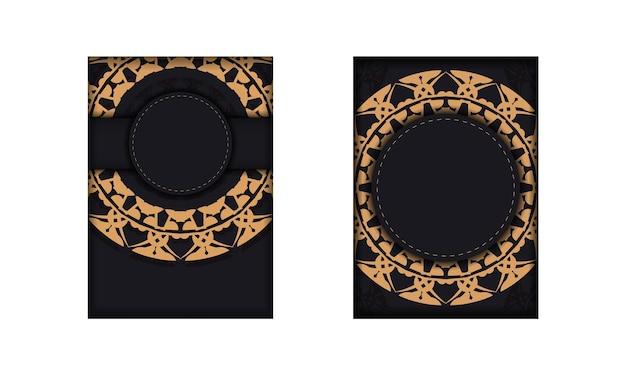 Brochure de voeux en noir avec motif vintage marron