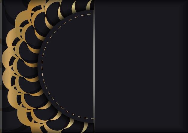 Brochure de voeux en noir avec ornement mandala en or