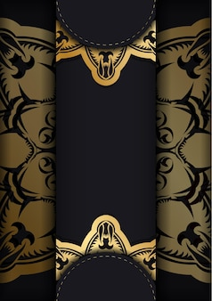 Brochure de voeux en noir avec des ornements en or grec pour votre conception.