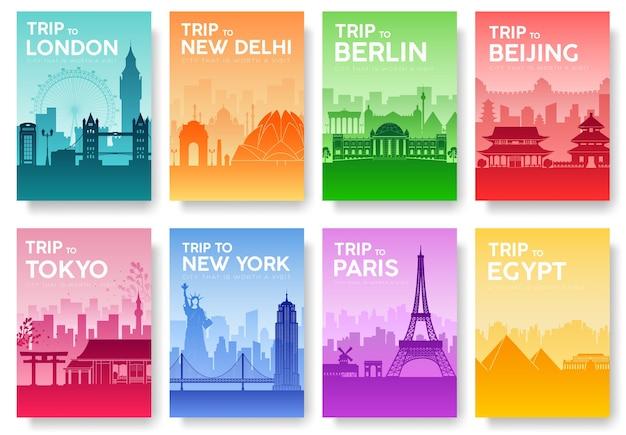 Brochure de voyage du monde avec jeu de typographie