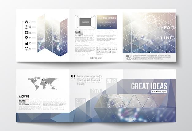 Brochures de conception à trois volets, modèles de conception carrée.