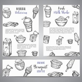 Brochures avec des produits laitiers sucrés