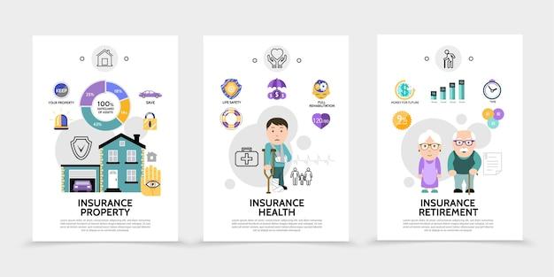 Brochures sur les services d'assurance plats