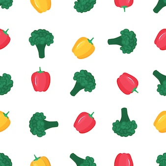 Brocoli et paprika. modèle sans couture de poivron doux. nourriture végétarienne biologique. utilisé pour les surfaces de conception, les tissus, les textiles, le papier d'emballage