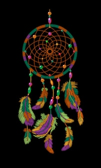 Broderie boho indien amérindien dreamcatcher plumes,