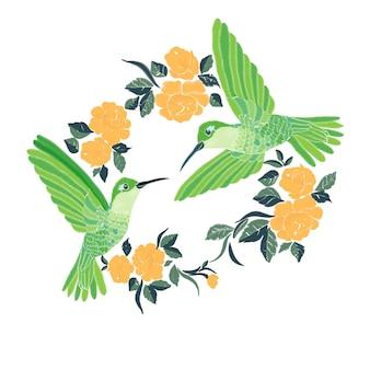 Broderie avec colibri et orchidée fleurs vector illustration