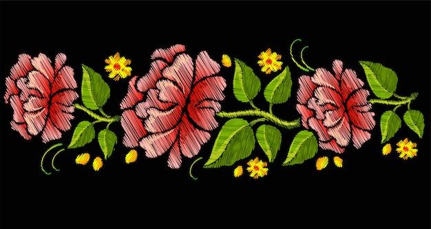 Broderie colorée transparente avec des fleurs.