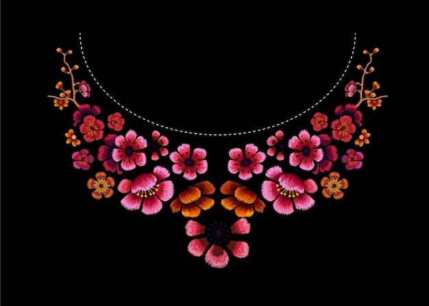 Broderie de conception de fleurs sur illustration noire